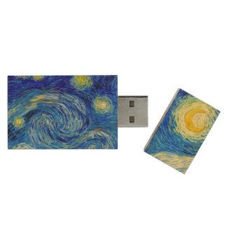 Starry Night by Van Gogh Fine Art Wood USB 2.0 Flash Drive