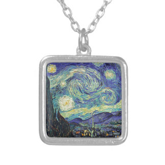 Starry Night by van Gogh Silver Plated Necklace