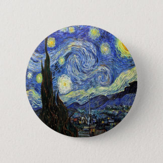 Starry Night By Vincent Van Gogh 1889 6 Cm Round Badge