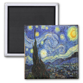 Starry Night By Vincent Van Gogh 1889 Square Magnet