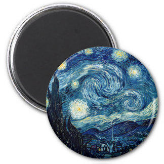 Starry Night By Vincent Van Gogh 6 Cm Round Magnet