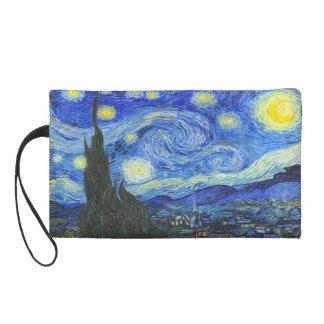 Starry Night by Vincent van Gogh Wristlet Clutch