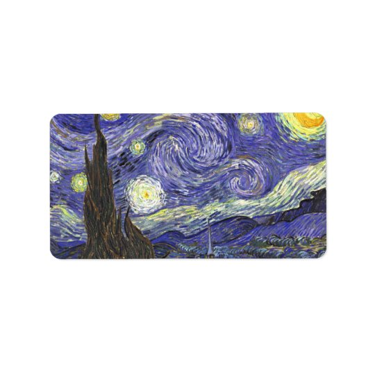 Starry Night by Vincent van Gogh Label