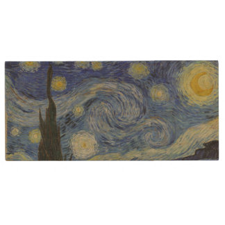 Starry Night by Vincent Van Gogh Wood USB 2.0 Flash Drive