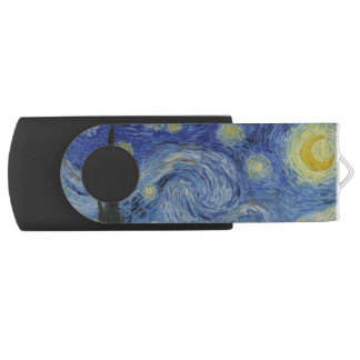 Starry Night by Vincent Van Gogh Swivel USB 2.0 Flash Drive