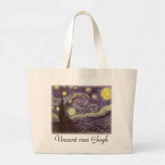 Starry Night by Vincent van Gogh, Vintage Fine Art Jumbo Tote Bag