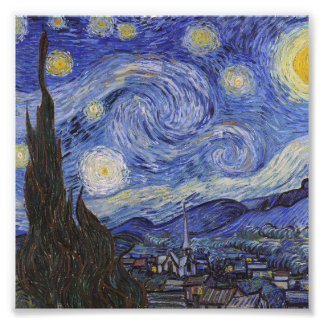 Starry night by Vincent Willem van Gogh painting Photo Art