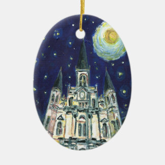 Starry Night Cathedral Ceramic Ornament