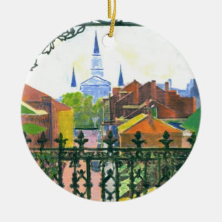 Starry Night Cathedral Round Ceramic Decoration