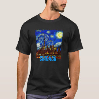 Starry Night Chicago, edit text T-Shirt