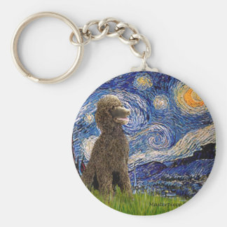 Starry Night - Chocolate St. Poodle Key Ring