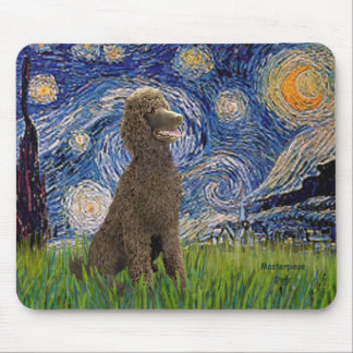 Starry Night - Chocolate St. Poodle Mouse Pad