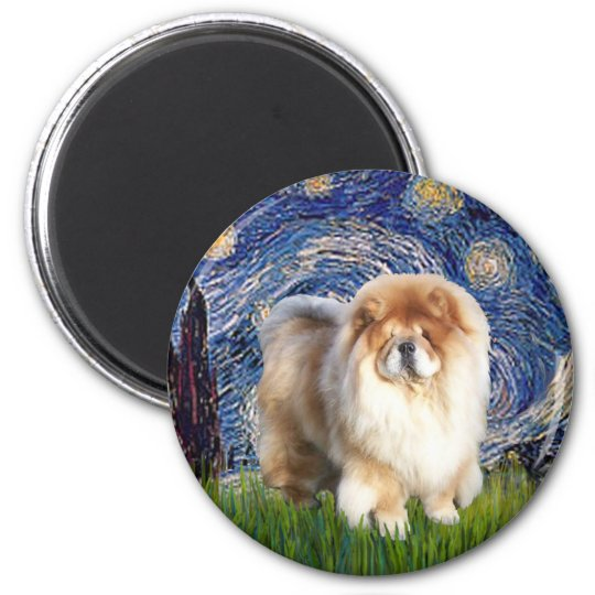 Starry Night - Chow Chow (cream) Magnet