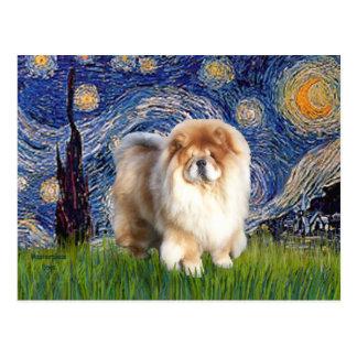 Starry Night - Chow Chow (cream) Postcard