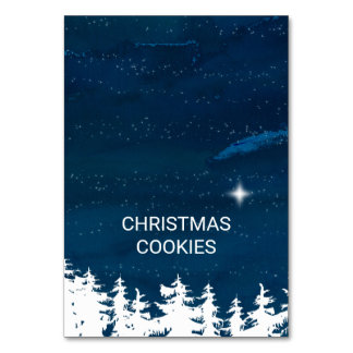Starry Night Christmas Buffet Food Labels Card