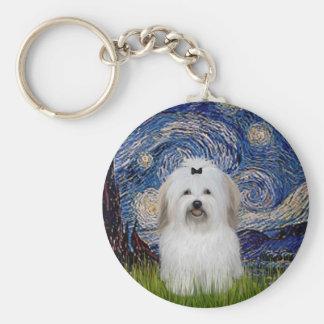Starry Night - Coton de Tulear 2 Key Ring