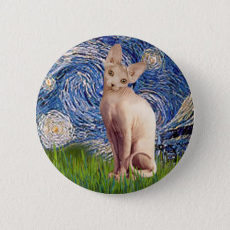 Starry Night - Cream Sphynx Cat 6 Cm Round Badge