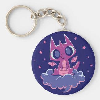 """""""Starry Night Dragon"""" Cute Dragon Sitting on Cloud Keychain"""