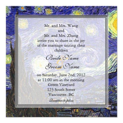 Starry Night, famous fine art wedding Invitations