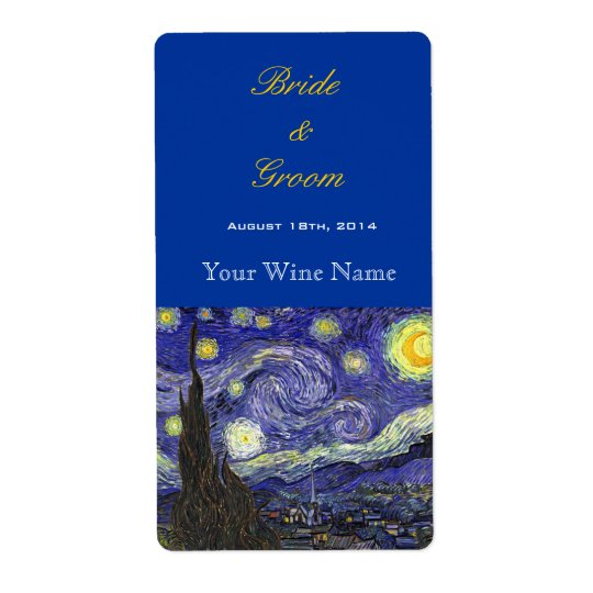 Starry Night fine art wedding wine labels