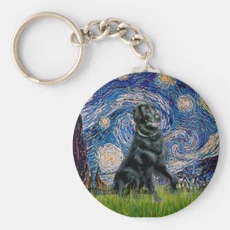 Starry Night - Flat Coated Retriever 2 Key Ring