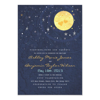 Starry Night Full Moon Wedding Invitation