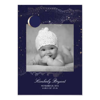 Starry Night Gold Stars Newborn Baby Photo Birth Card
