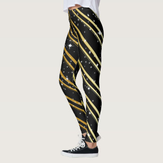 Starry Night Gold Stripes Leggings (customizable)
