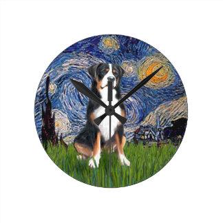 Starry Night - Greater Swiss Mountain dog Round Clock