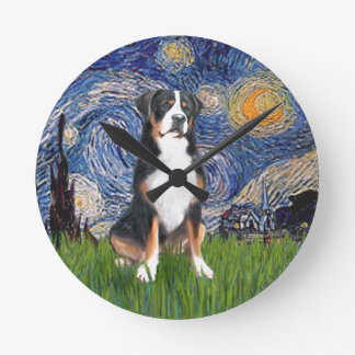 Starry Night - Greater Swiss Mountain dog Wall Clocks