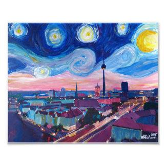 Starry Night in Berlin with skyline Photo Print