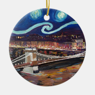 Starry Night in Budapest Hungary with Parliament Ceramic Ornament
