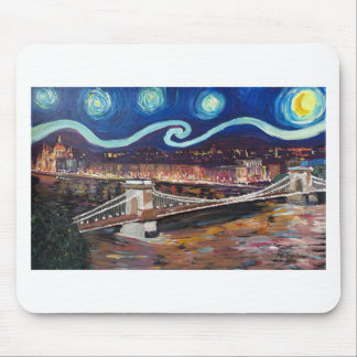 Starry Night in Budapest Hungary with Parliament Mouse Pad