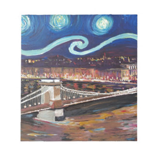 Starry Night in Budapest Hungary with Parliament Notepad