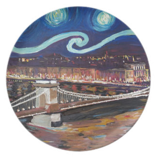 Starry Night in Budapest Hungary with Parliament Plate