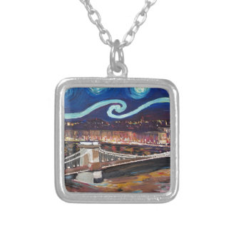 Starry Night in Budapest Hungary with Parliament Silver Plated Necklace