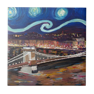 Starry Night in Budapest Hungary with Parliament Small Square Tile