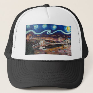 Starry Night in Budapest Hungary with Parliament Trucker Hat