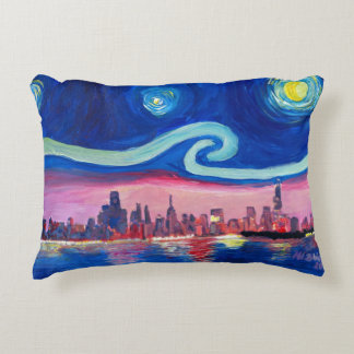 Starry Night in Chicago Illinois Van Gogh inspired Decorative Cushion