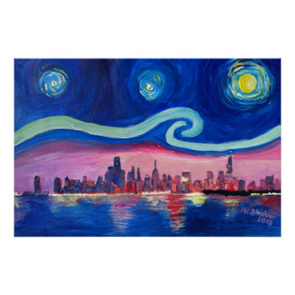 Starry Night in Chicago Illinois with Lake Michiga Poster