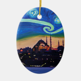 Starry Night in Istanbul Turkey Ceramic Ornament