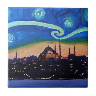 Starry Night in Istanbul Turkey Ceramic Tile