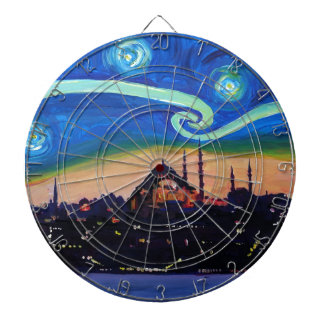 Starry Night in Istanbul Turkey Dartboard
