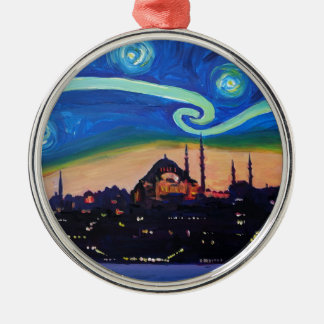 Starry Night in Istanbul Turkey Metal Ornament