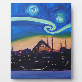 Starry Night in Istanbul Turkey Plaque