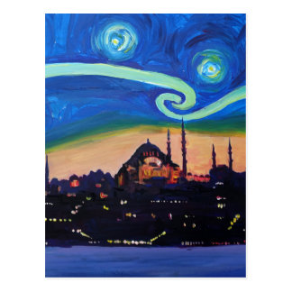 Starry Night in Istanbul Turkey Postcard