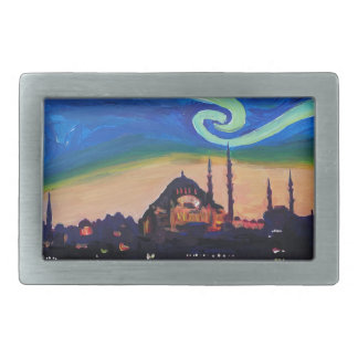Starry Night in Istanbul Turkey Rectangular Belt Buckles