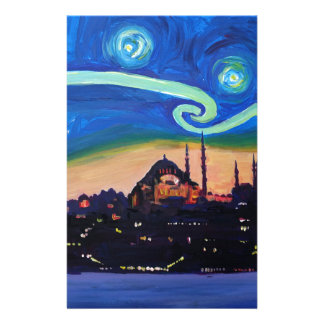 Starry Night in Istanbul Turkey Stationery