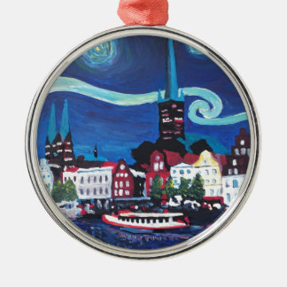 Starry Night in Luebeck Germany Metal Ornament
