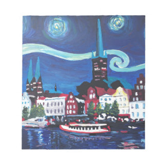 Starry Night in Luebeck Germany Notepad